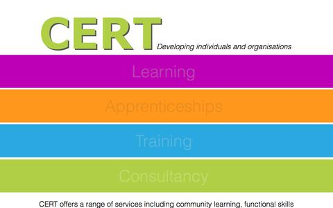 Screenshot of Home Page cert-ltd.co.uk - CERT - Developing individuals and organisations - captured July 14, 2018