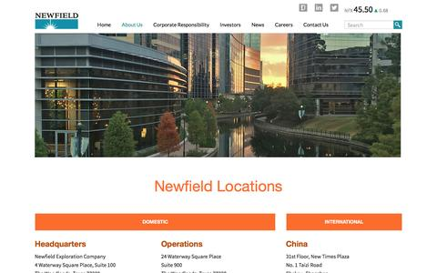 Screenshot of Locations Page newfield.com - Locations - captured Oct. 1, 2016