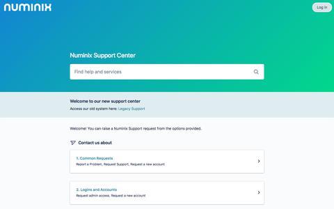 Screenshot of Support Page atlassian.net - Numinix Support - Service Desk - captured Nov. 9, 2019