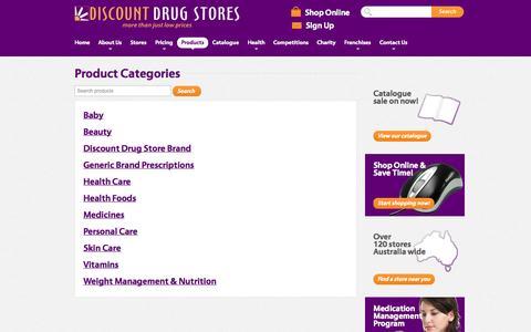 Screenshot of Products Page discountdrugstores.com.au - Discounts On Generic Brand Presriptions, Medicines, Vitamins | Discount Drug Stores - captured Sept. 19, 2014