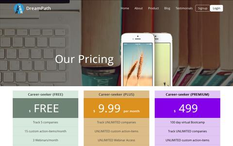 Screenshot of Pricing Page ondreampath.com - Pricing | DreamPath - captured Jan. 10, 2016