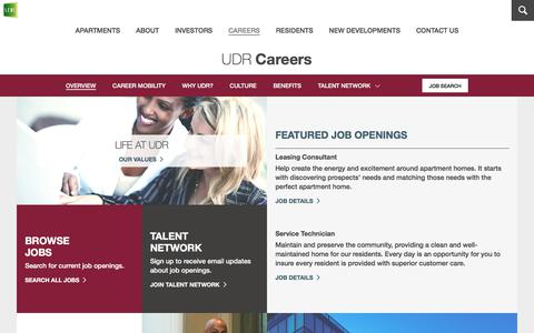 Screenshot of Jobs Page udr.com - Careers and Job Search | UDR Apartments - captured Sept. 22, 2017