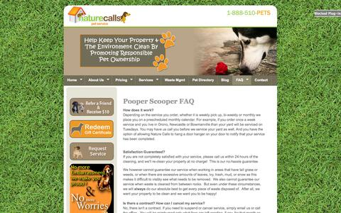 Screenshot of FAQ Page petservice.ca - Nature Calls Pet Service - Waste Removal-FAQ - captured Nov. 5, 2014
