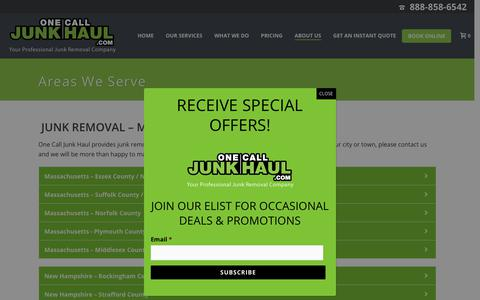 Screenshot of Locations Page onecalljunkhaul.com - Junk Removal Services, Dumpster Rentals- MA, NH & CT | One Call Junk Haul - captured Nov. 21, 2018