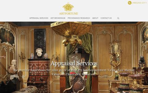 Screenshot of Home Page artfortune.com - ArtFortune | Art Dealer | Art Appraisals | Buy & Sell Art - captured July 30, 2018