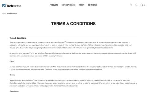 Screenshot of Terms Page trekmates.co.uk - Terms Conditions | Trekmates - captured Oct. 20, 2018