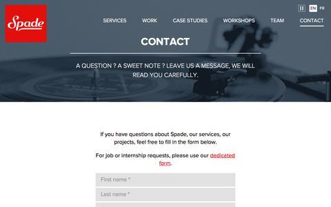 Screenshot of Contact Page spade.be - Contact | Spade - captured Nov. 14, 2017