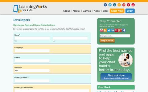 Screenshot of Developers Page learningworksforkids.com - Developers | LearningWorks for KidsLearningWorks for Kids - captured Sept. 23, 2014