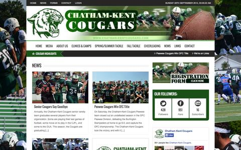 Screenshot of Press Page chatham-kentcougars.com - Chatham-Kent Cougars Football | | News - captured Sept. 29, 2014