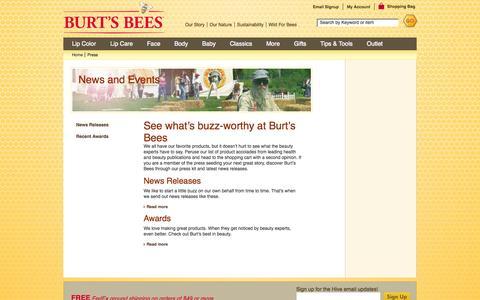 Screenshot of Press Page burtsbees.com - News & Events - Burt's Bees - captured Sept. 25, 2014