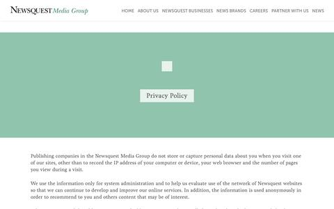 Screenshot of Privacy Page newsquest.co.uk - Privacy Policy - Newsquest - captured Aug. 16, 2016