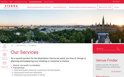 Screenshot of Services Page convention.at - Our Services -     Vienna Convention Bureau - captured Oct. 27, 2017
