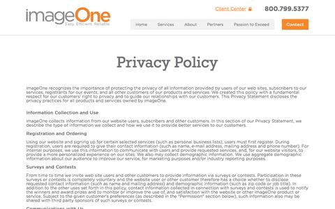 Screenshot of Privacy Page imageoneway.com - Privacy - imageOne - captured Nov. 18, 2016