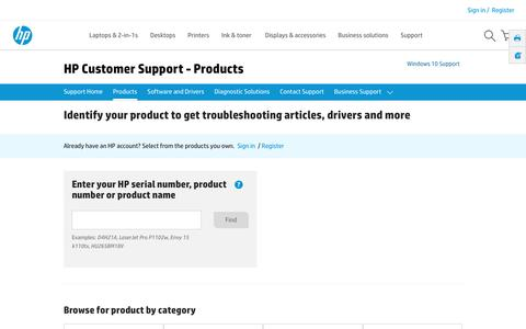 Screenshot of Products Page hp.com - HP Customer Support for Printers, Laptops, PCs, Desktops, Tablets and More | HP® Customer Support - captured Oct. 18, 2018