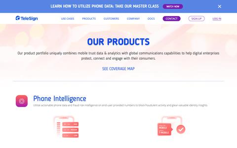 Screenshot of Products Page telesign.com - Our Products | TeleSign - captured March 25, 2019