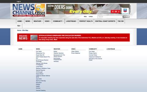 Screenshot of Site Map Page kionrightnow.com - Site Map | Central Coast News KION - captured Sept. 11, 2016