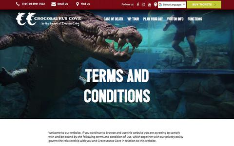 Screenshot of Terms Page crocosauruscove.com - Croccove | Terms and Conditions - captured July 22, 2018