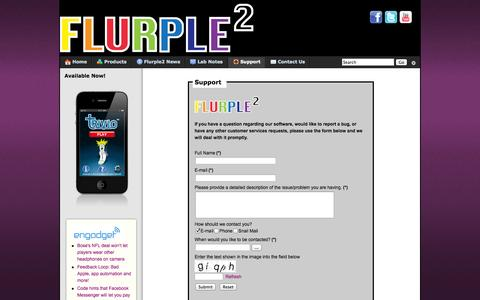 Screenshot of Support Page flurple.com - Support - captured Oct. 6, 2014