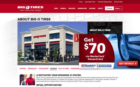Screenshot of Jobs Page bigotires.com - Big O Tires - About Big O Tires - The Team You Trust Since 1962 - captured Oct. 29, 2014