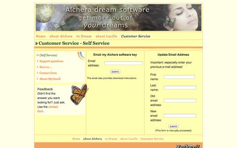 Screenshot of Support Page mythwell.com - Mythwell - Alchera Dream Journaling Software - captured Oct. 26, 2014