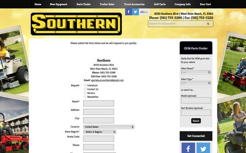 Screenshot of Contact Page southernlawnequip.com - Contact Us Southern West Palm Beach, FL (561) 753-5296 - captured Dec. 15, 2016