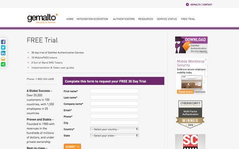 Screenshot of Trial Page gemalto.com - Free Trial: SafeNet Authentication Service - captured Nov. 7, 2016