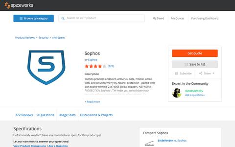 Sophos Specs, Pricing, Reviews, & Support