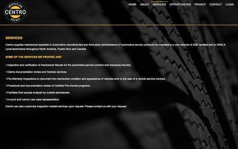 Screenshot of Services Page centroinspection.com - Centro Inspection Agency - captured Nov. 1, 2016