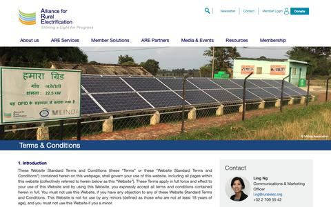 Screenshot of Terms Page ruralelec.org - Terms & Conditions   The Alliance for Rural Electrification (ARE) - captured Oct. 3, 2018