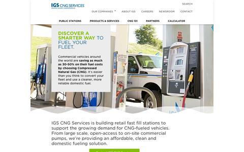 Screenshot of Home Page igscngservices.com - CNG Services   Compressed Natural Gas   IGS CNG Services - captured Sept. 30, 2014
