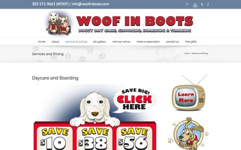 Screenshot of Pricing Page woofinboots.com - Denver Dog Care Pricing - captured Oct. 9, 2014
