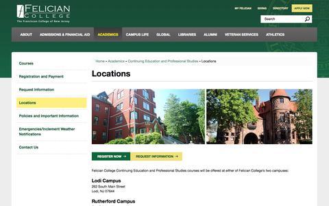 Screenshot of Locations Page felician.edu - Locations | Felician College, New Jersey Catholic - captured Nov. 3, 2014
