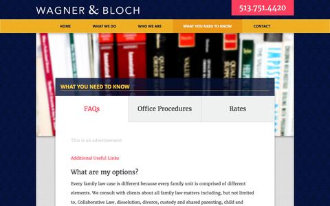 Screenshot of FAQ Page wagnerandbloch.com - What you need to know about divorce and family law. - captured Feb. 17, 2016