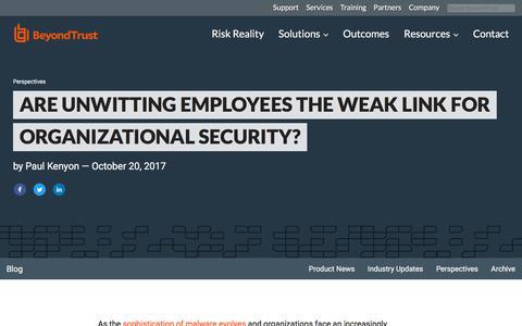 Screenshot of Team Page beyondtrust.com - Are Unwitting Employees the Weak Link for Organizational Security? | BeyondTrust - captured Jan. 3, 2020