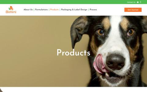 Screenshot of Products Page biminipethealth.com - Products | Bimini Pet Health - captured Dec. 9, 2018