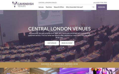 Screenshot of Home Page cavendishvenues.co.uk - Conference Venues | Meeting Rooms | Training Centres London - Cavendish Venues - captured July 4, 2018