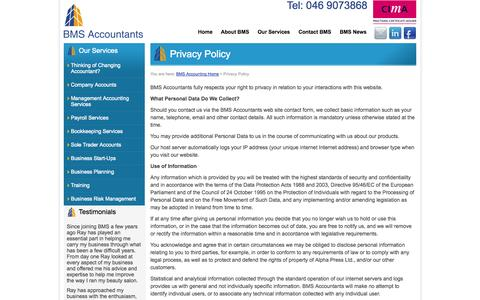 Screenshot of Privacy Page bmsaccountants.ie - BMS Accountants - Privacy Policy - Accounting, Bookkeeping Services, Management Accounting Services - captured Oct. 27, 2014