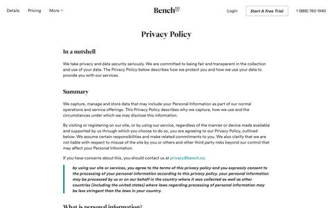 Bench � Privacy Policy