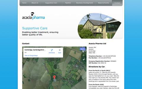 Screenshot of Contact Page acaciapharma.com - Contact >                 Acacia Pharma - captured Nov. 5, 2014