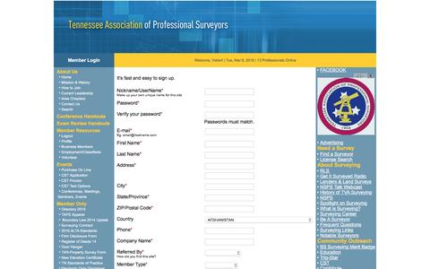 Screenshot of Signup Page taps-inc.com - Tennessee Association of Professional Surveyors - captured March 8, 2016