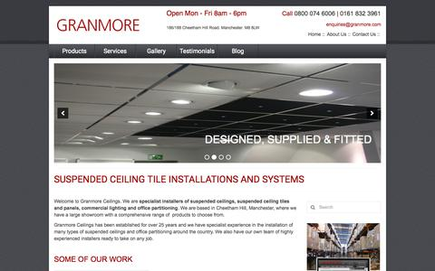 Screenshot of Home Page granmore.com - Suspended Ceiling Tile Installation Manchester | Install Suspended Ceilings in Manchester UK - captured Sept. 17, 2015