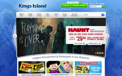 Screenshot of Home Page visitkingsisland.com - Largest Amusement & Waterpark in the Midwest | Kings Island - captured Sept. 24, 2014