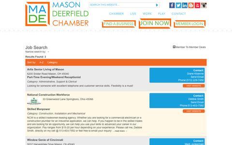 Screenshot of Jobs Page madechamber.org - Job Search - Mason Deerfield Chamber of Commerce | Mason, Ohio - captured Feb. 27, 2016