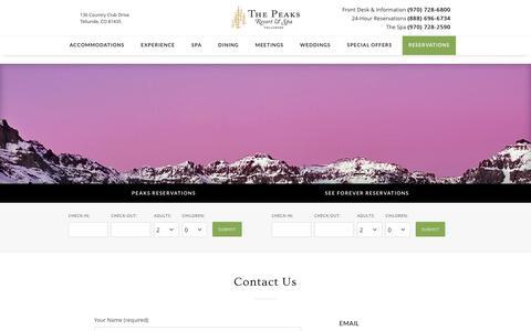 Screenshot of Contact Page thepeaksresort.com - Contact - The Peaks Resort & Spa - captured Feb. 28, 2016