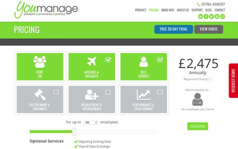 Screenshot of Pricing Page youmanage.co.uk - Price of WorkForce Management Software - captured Nov. 5, 2017