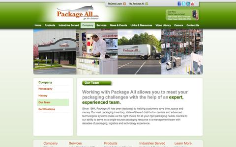 Screenshot of Team Page packageall.com - Packaging Supplier | Packaging Distributor | Packaging Solutions - captured Oct. 1, 2014