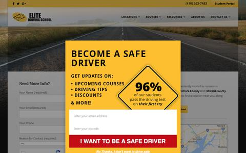 Screenshot of Locations Page drivingschool.net - Driving Schools in Maryland - captured July 29, 2017