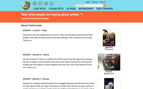 Screenshot of Testimonials Page petkey.org - Testimonials  petkey ™ - captured Sept. 23, 2014