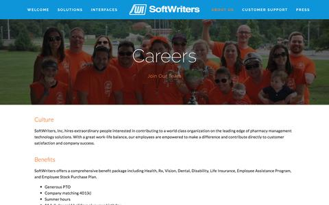 Screenshot of Jobs Page softwriters.com - Careers — SoftWriters' Integrated LTC Pharmacy Software Solutions - captured Jan. 15, 2018