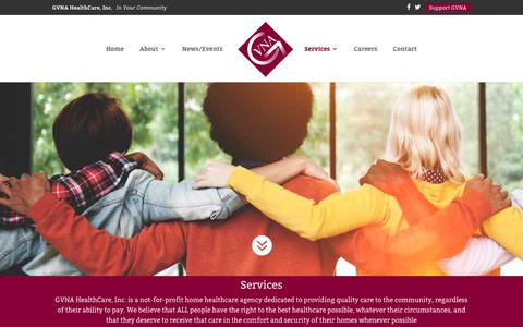 Screenshot of Services Page gvnahealthcare.org - Services - GVNA Healthcare, Inc. - captured Sept. 27, 2018